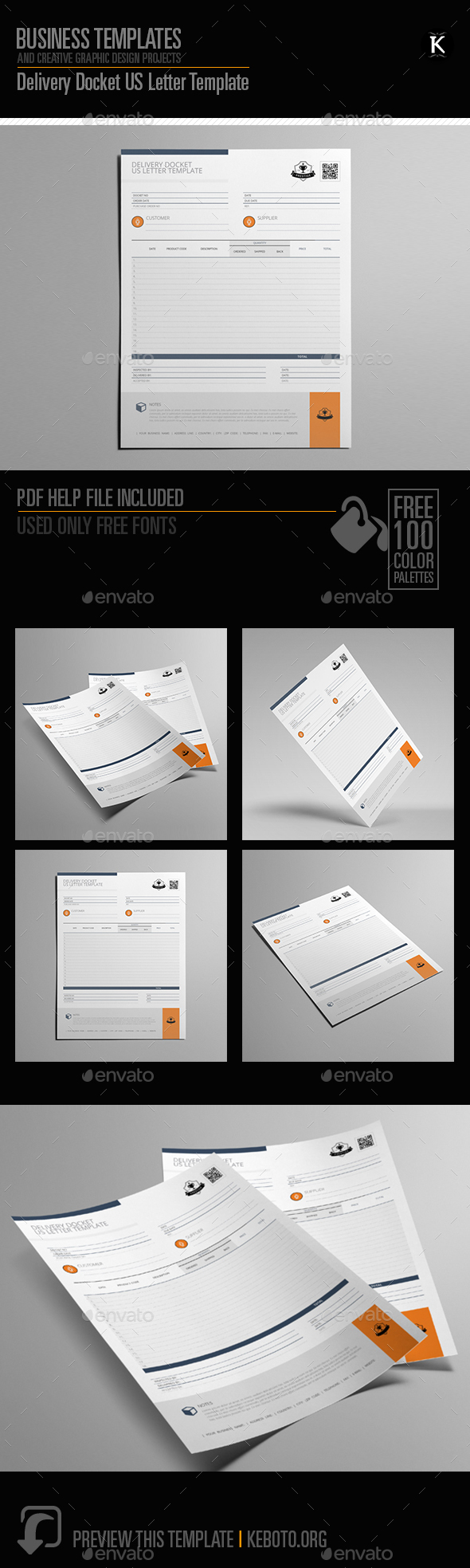 Delivery Docket US Letter Template - Miscellaneous Print Templates