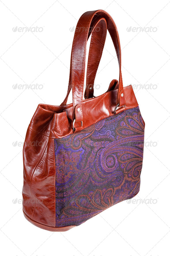 leather and paisley handbag - Stock Photo - Images