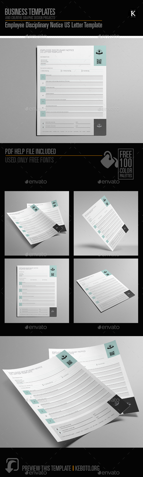 GraphicRiver Employee Disciplinary Notice US Letter Template 20294618
