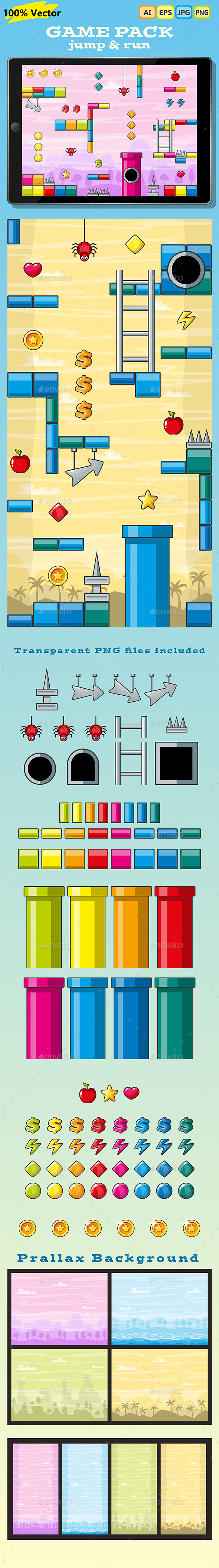 Jump and Run - Horizontal or Vertical Game Pack - Tilesets Game Assets