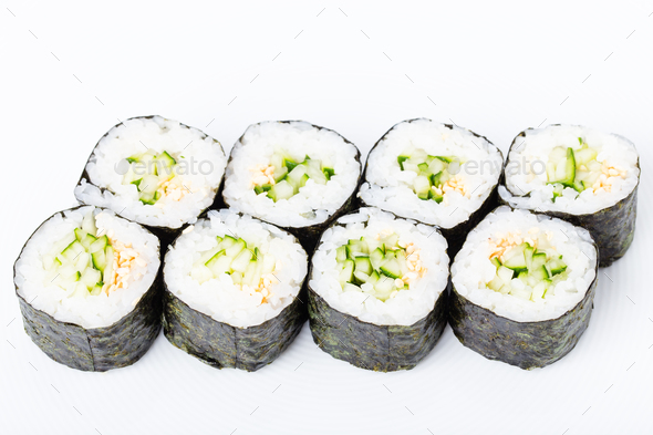 Vegetarian Japanese Sushi Roll With Cucumber
