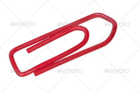 red plastic staple - Stock Photo - Images