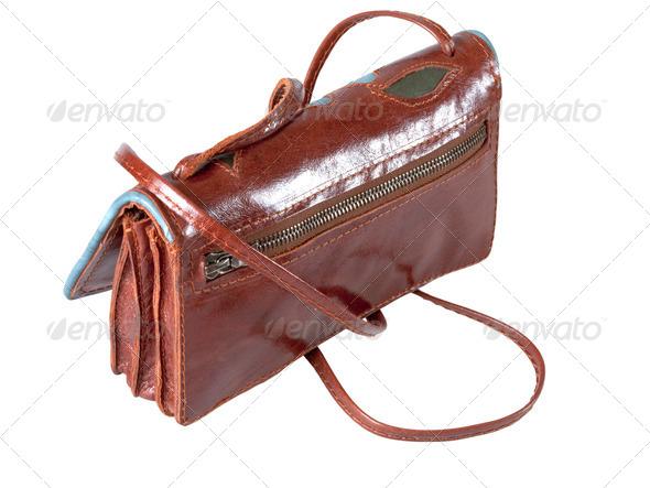 lady leather handbag - Stock Photo - Images