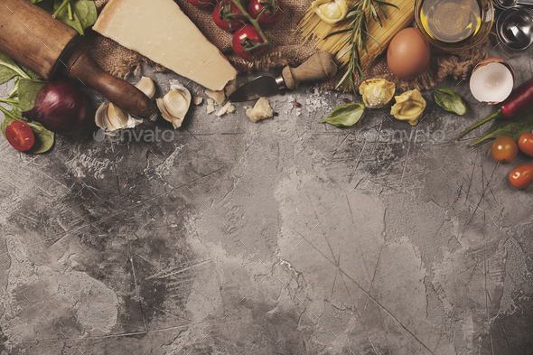 Italian food background. Slate background with space for text - Stock Photo - Images