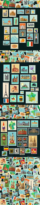 GraphicRiver Postage Stamps Set 20294831