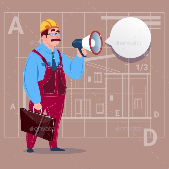 GraphicRiver Cartoon Builder Holding Megaphone Making 20294879