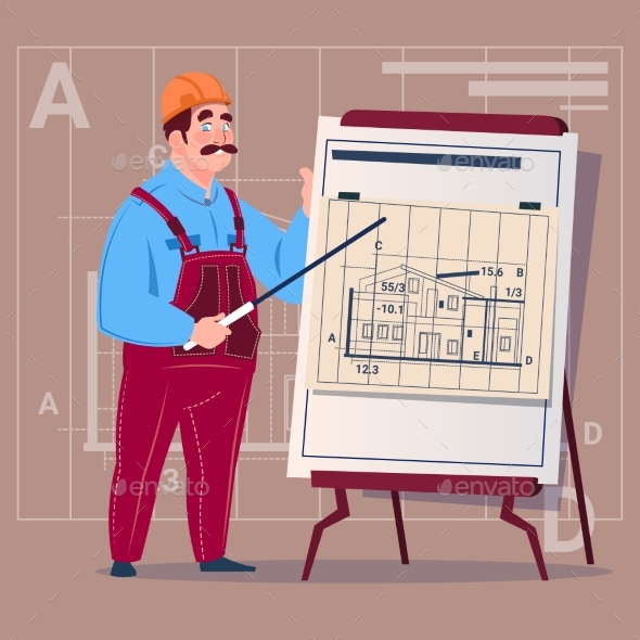 Cartoon Builder Explain Plan of Building Blueprint - People Characters
