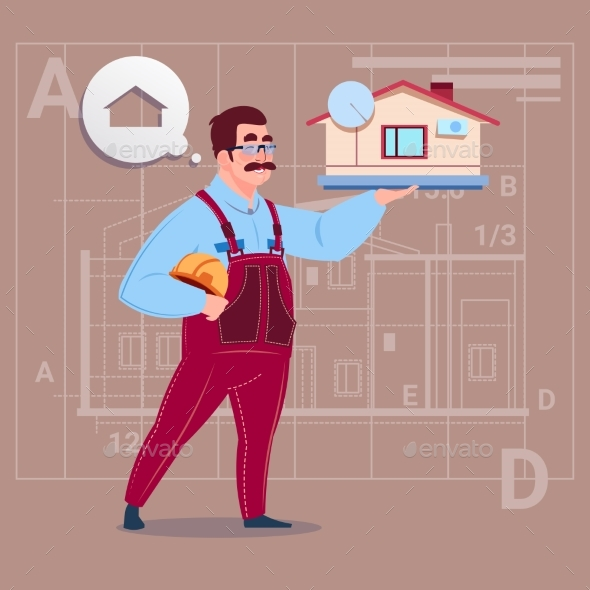Cartoon Builder Holding Small House - People Characters