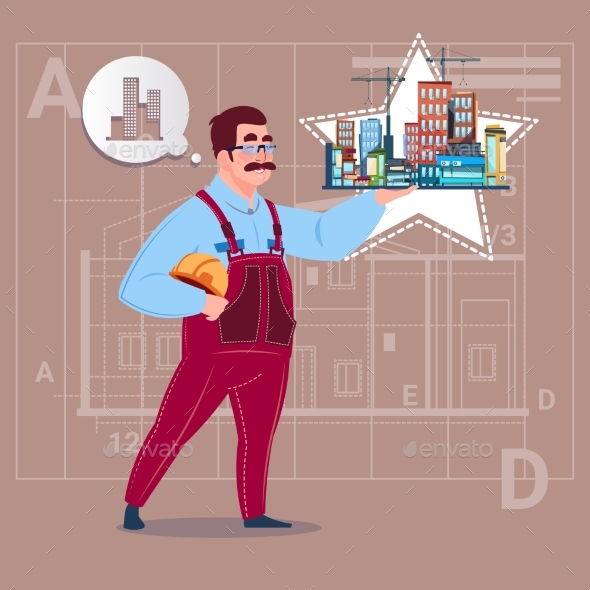 Cartoon Builder Holding Buildings - People Characters