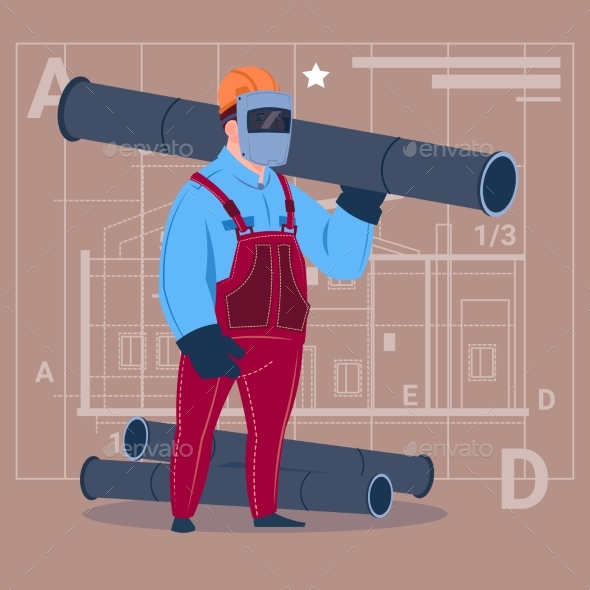 Cartoon Builder Wearing Welding Mask Holds Piping - People Characters