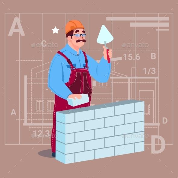 Cartoon Builder Laying Brick Wall Hold Spatula - People Characters