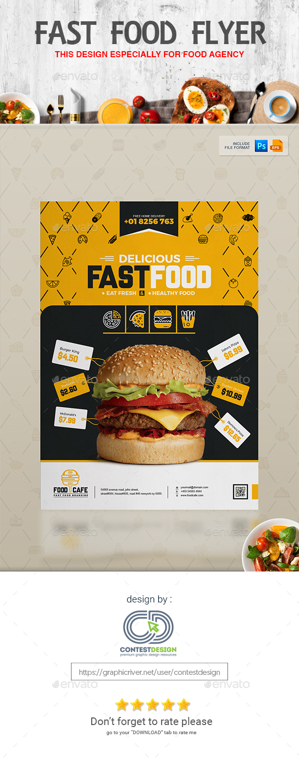 Poster design template free - Flyer Poster Design Template For Fast Food Restaurants Cafe Restaurant Flyers