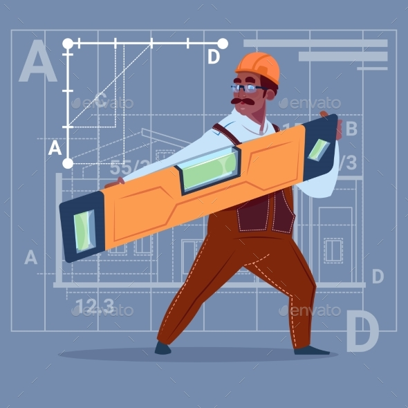 Cartoon African American Builder Holding Carpenter - People Characters