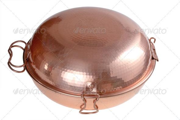 copper Portugal cataplana - Stock Photo - Images