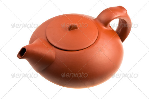brown Chinese teapot isolated on white - Stock Photo - Images