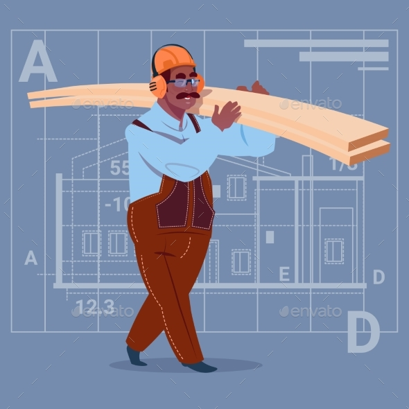 Cartoon Builder Holding Planks - People Characters