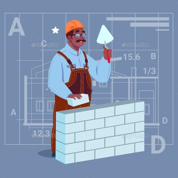 Cartoon African American Builder Laying Brick Wall - People Characters