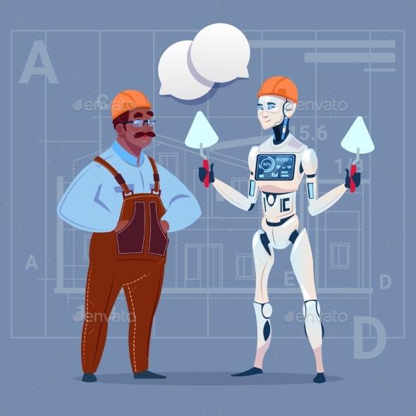 Cartoon African American Builder Working - People Characters