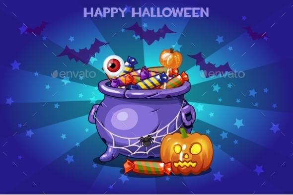 Cartoon Pot with Candy - Halloween Seasons/Holidays