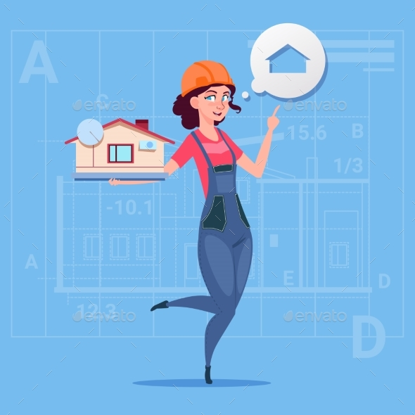 GraphicRiver Cartoon Female Builder Holding Small House Ready 20295055