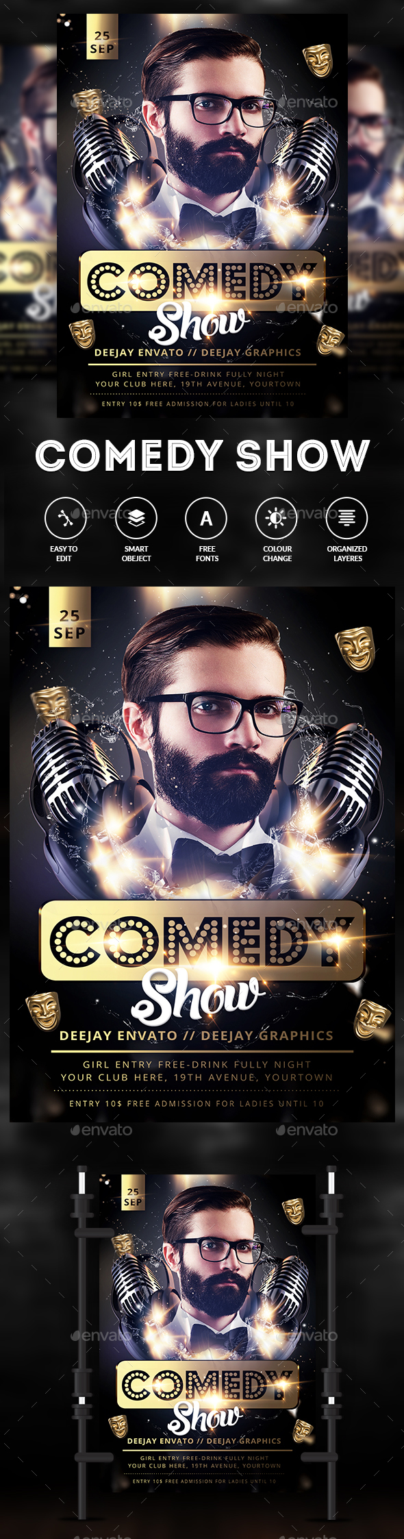 Comedy Night Flyer - Clubs & Parties Events