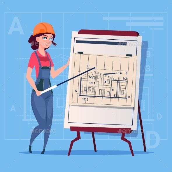 GraphicRiver Cartoon Female Builder Explain Plan of Building 20295067