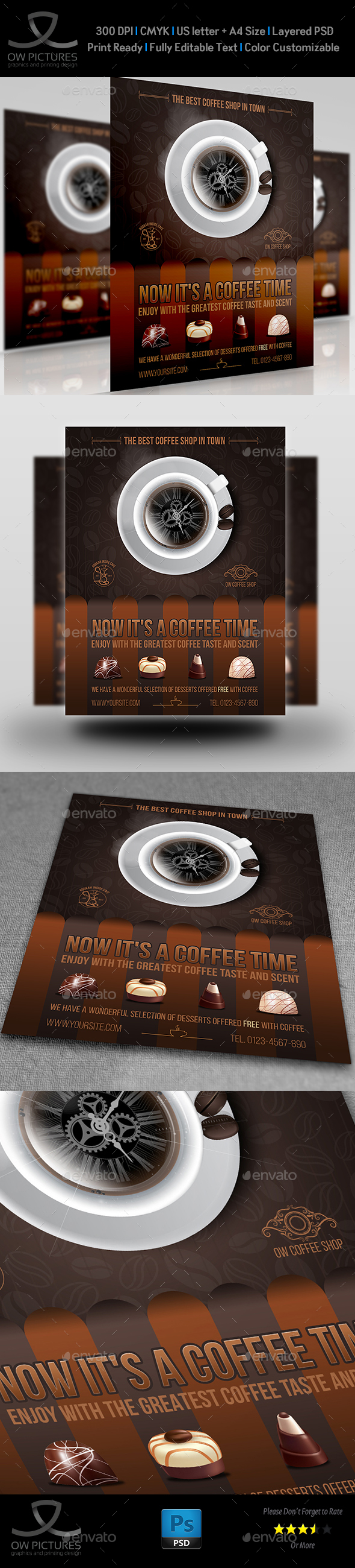 Cafe - Coffee Shop Flyer Template Vol.6 - Flyers Print Templates