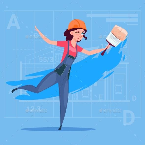 Cartoon Female Painter Hold Paint Brush Decorator - People Characters