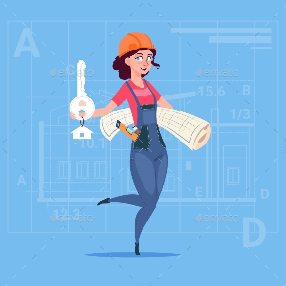 Cartoon Female Builder Holding Key From New House - People Characters