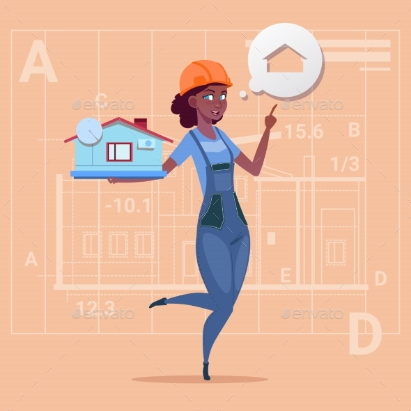 Cartoon Female Builder Holding Small House Ready - People Characters