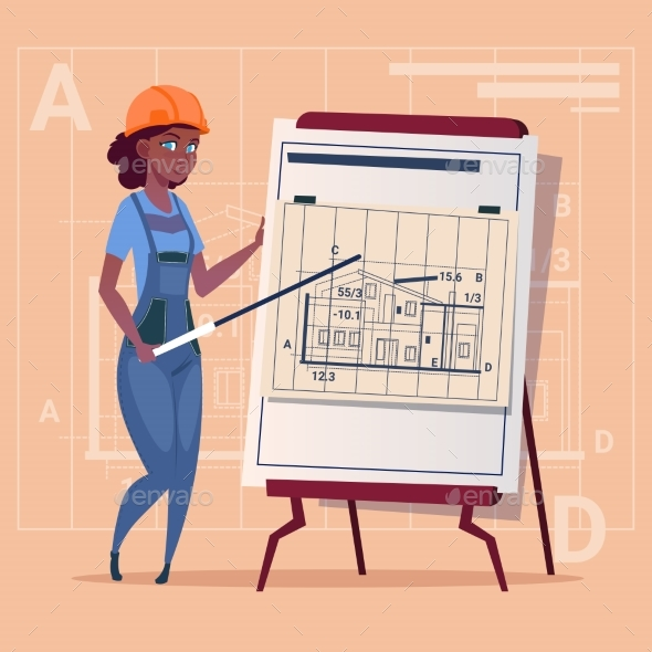 Cartoon Woman Builder Explain Plan Of Building - People Characters
