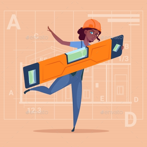 GraphicRiver Cartoon Woman Builder Holding Carpenter Level 20295130