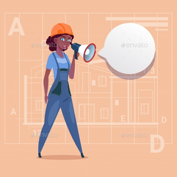 Cartoon Female Builder Holding Megaphone Making - People Characters