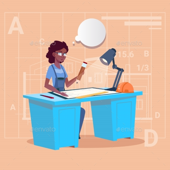 Cartoon African American Builder Sitting At Desk - People Characters