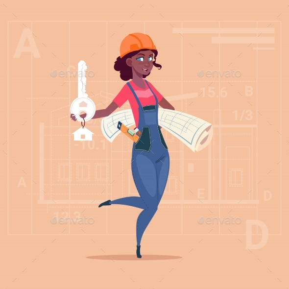 Cartoon Female Builder Holding Blueprint - People Characters