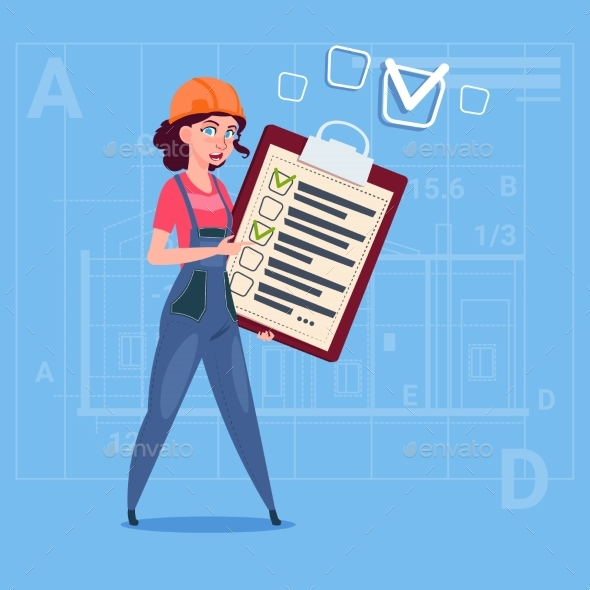Cartoon Female Builder Carpenter Hold Checklist - People Characters