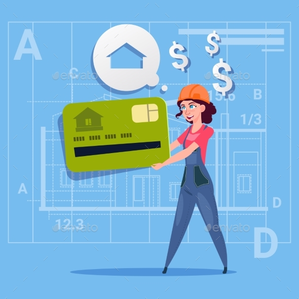 Cartoon Woman Builder Hold Credit Card Sell House - People Characters