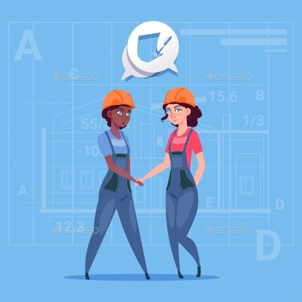Two Female Builders Shaking Hands - People Characters
