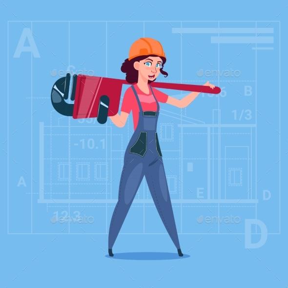 Cartoon Female Builder Wearing Uniform And Helmet - People Characters