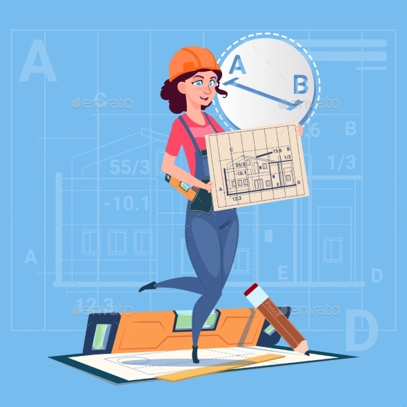 GraphicRiver Cartoon Builder Woman Hold Plan Of Building 20295167