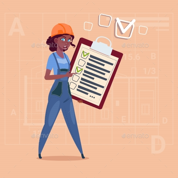 GraphicRiver Cartoon Female Builder Carpenter Hold Checklist 20295169