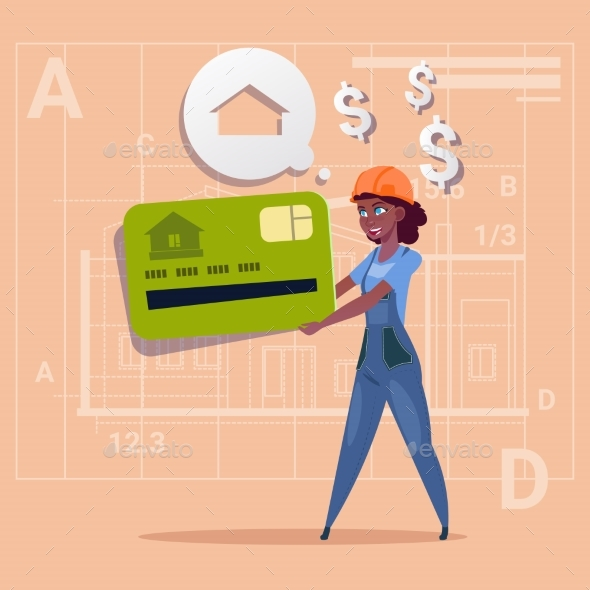 Cartoon Woman Builder Holds Credit Card and Sells House - People Characters
