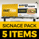Signage Pack (Rollup, Bill Board, Shop Sign, Promotion Counter) Design Template for Fast Food