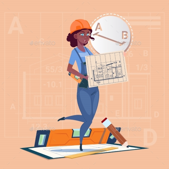 Cartoon Builder Woman Hold Plan of Building - People Characters