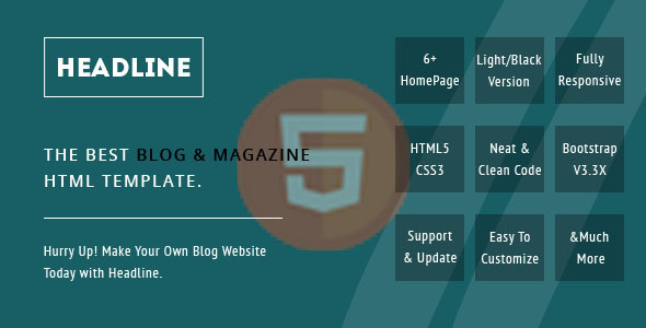 Headline, A Blog and Magazine HTML Template