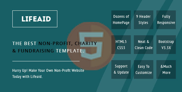 Image of LifeAid - Minimal Charity, NGO, Non-Profit, Fund Raising HTML Template