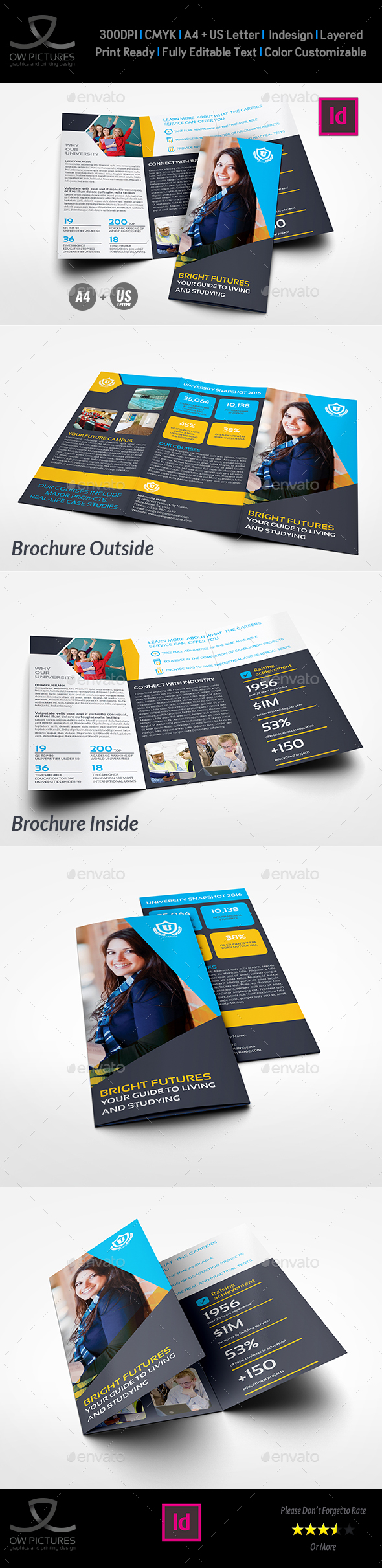 University - College Tri- Fold Brochure Template - Brochures Print Templates