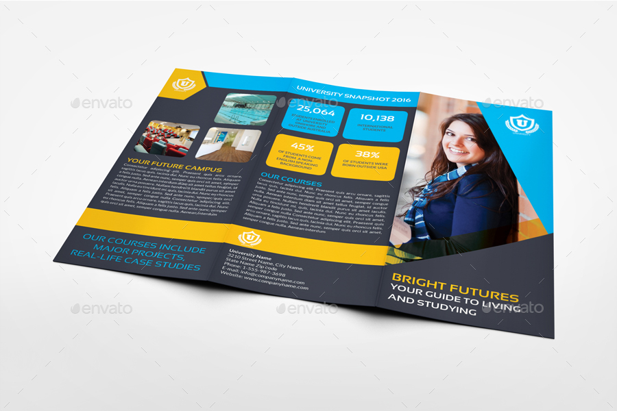 college brochure templates - university college tri fold brochure template by