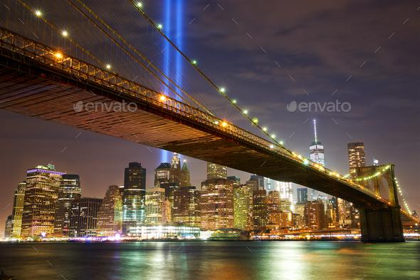Brooklyn Bridge and New York skyline - Stock Photo - Images