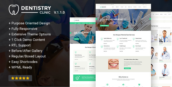 25+ Best Dental Care and Dentist WordPress Themes 2019 4